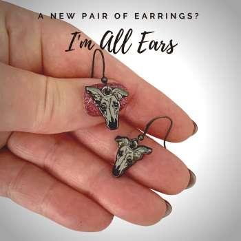 I'm All Ears Grey Enamel Earring