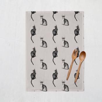 Cornish Kitties tea towel